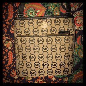 MK crossbody black and brown bag